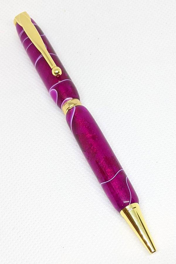 Fuschia and White Slim Pen 75