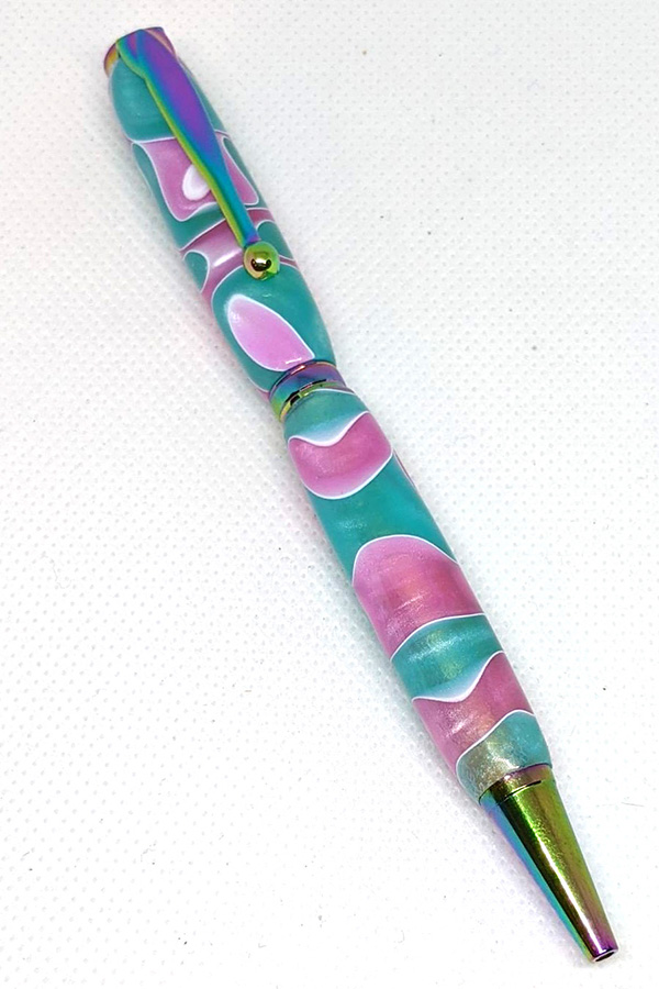 Teal and Pink Slim Pen 76